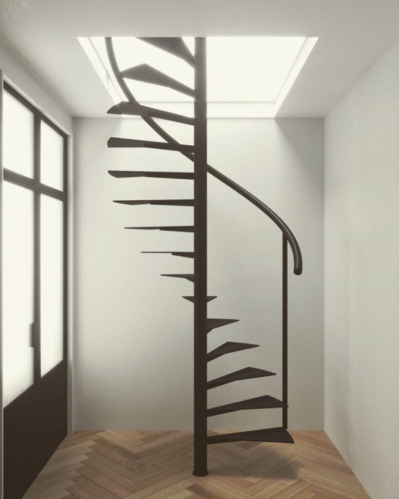 trappe-trappeløsning-ståltrappe-smede trappe-glas trappe-glasvaeg-new yorker trappe-trappegelænder-trappe med gelænder